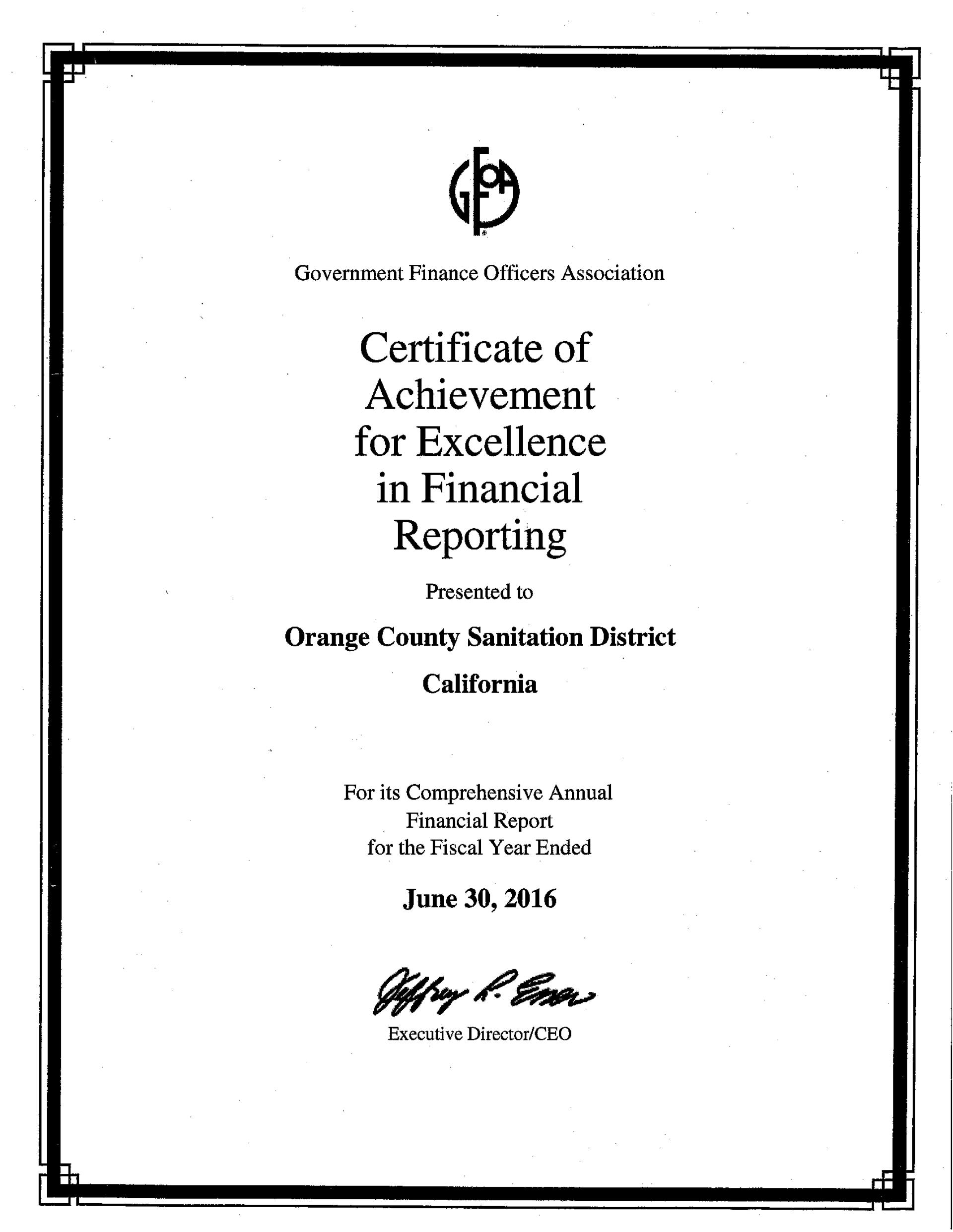 Ocsd Recognized For Excellence In Financial Reporting In The News