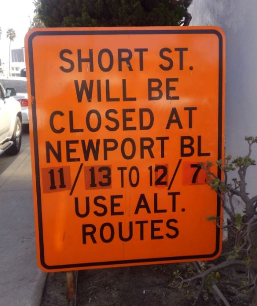 Short St Closure Sign Extended